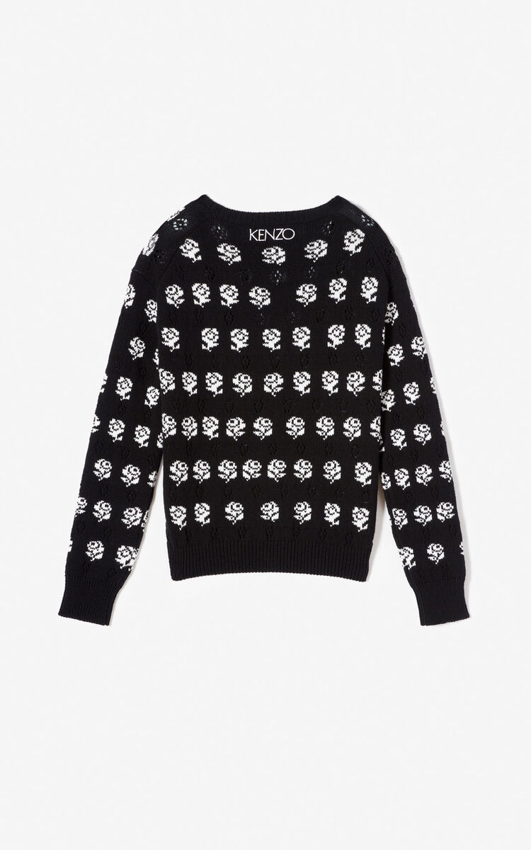BLACK 'Roses' jacquard cardigan for women KENZO