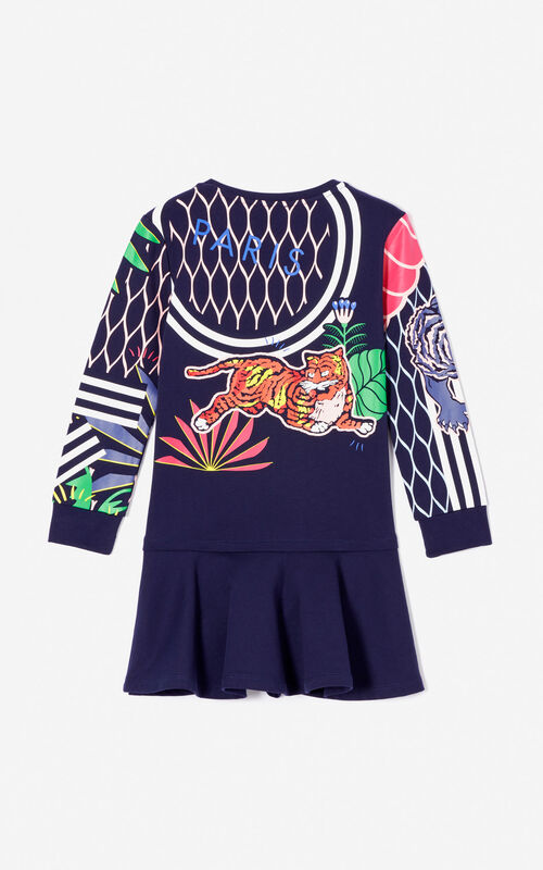 NAVY BLUE 'Fantastic Jungle' multi-icon dress for women KENZO