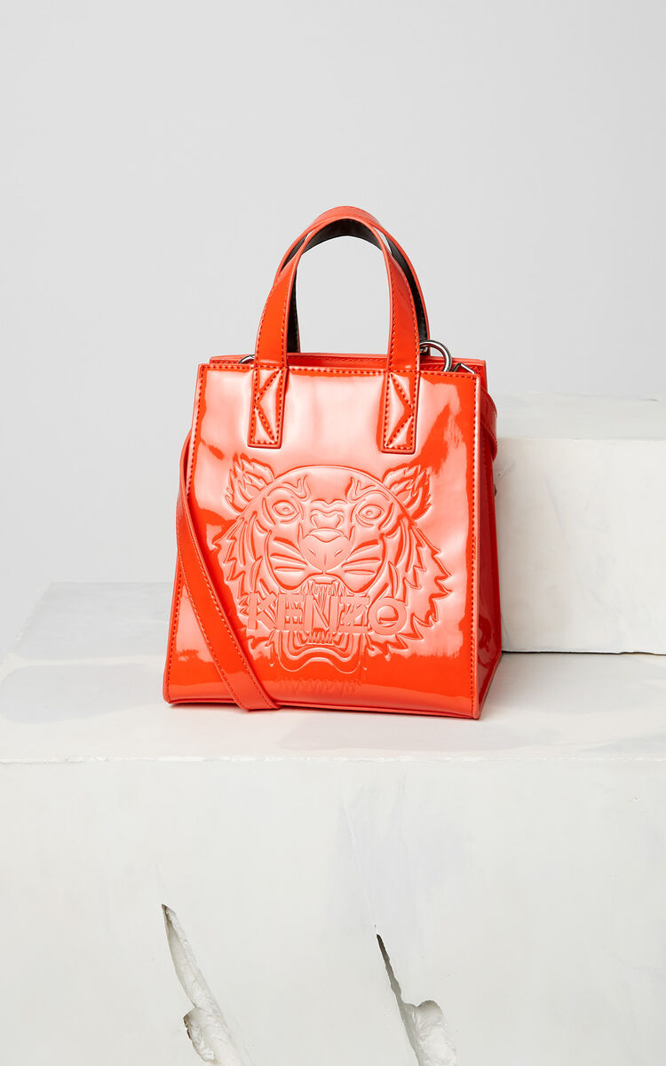 MEDIUM RED Mini Tiger patent tote bag for unisex KENZO