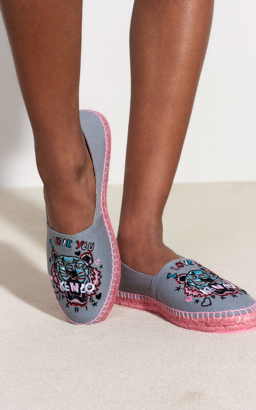 MIDDLE GREY 'Tiger x I Love You' Espadrilles for women KENZO
