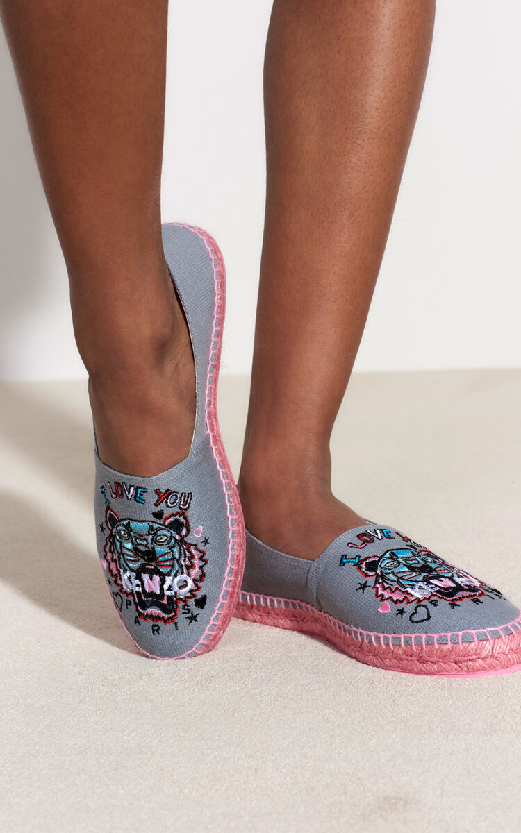 MIDDLE GREY 'Tiger x I Love You' Espadrilles for unisex KENZO