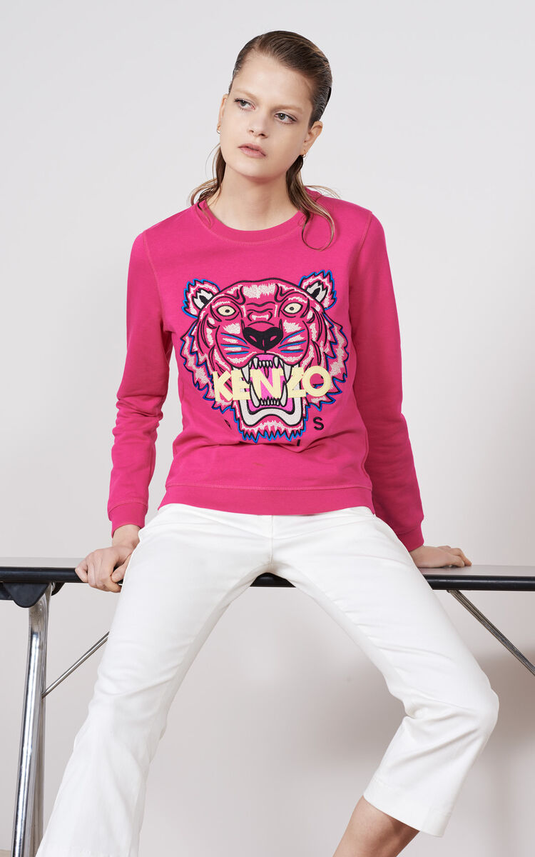 DEEP FUSCHIA Tiger Sweatshirt for unisex KENZO