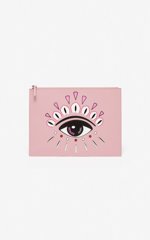 PASTEL PINK Kontact Eye A4 clutch for unisex KENZO
