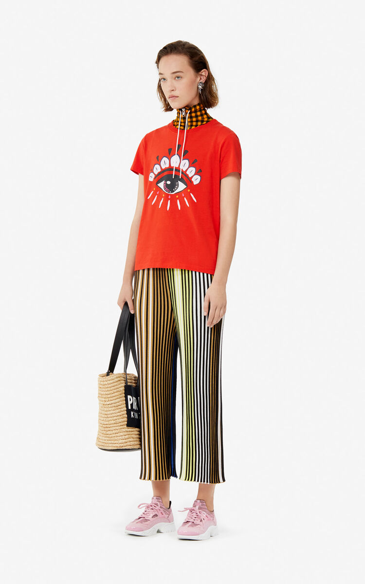 MULTICOLOR Pleated colorblock knit trousers for women KENZO
