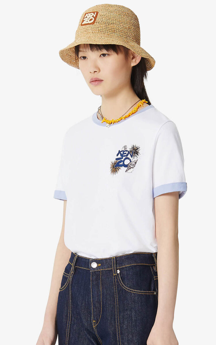WHITE 'High Summer Capsule Collection' 'Seashells & Urchins' t-shirt for women KENZO
