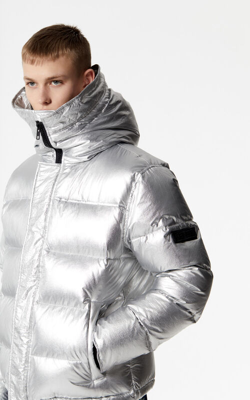 SILVER Hooded Puffa down jacket for men KENZO