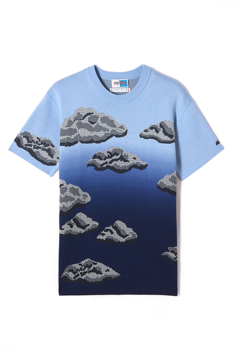 MIDNIGHT BLUE 'Cloud' knitted t-shirt for women KENZO
