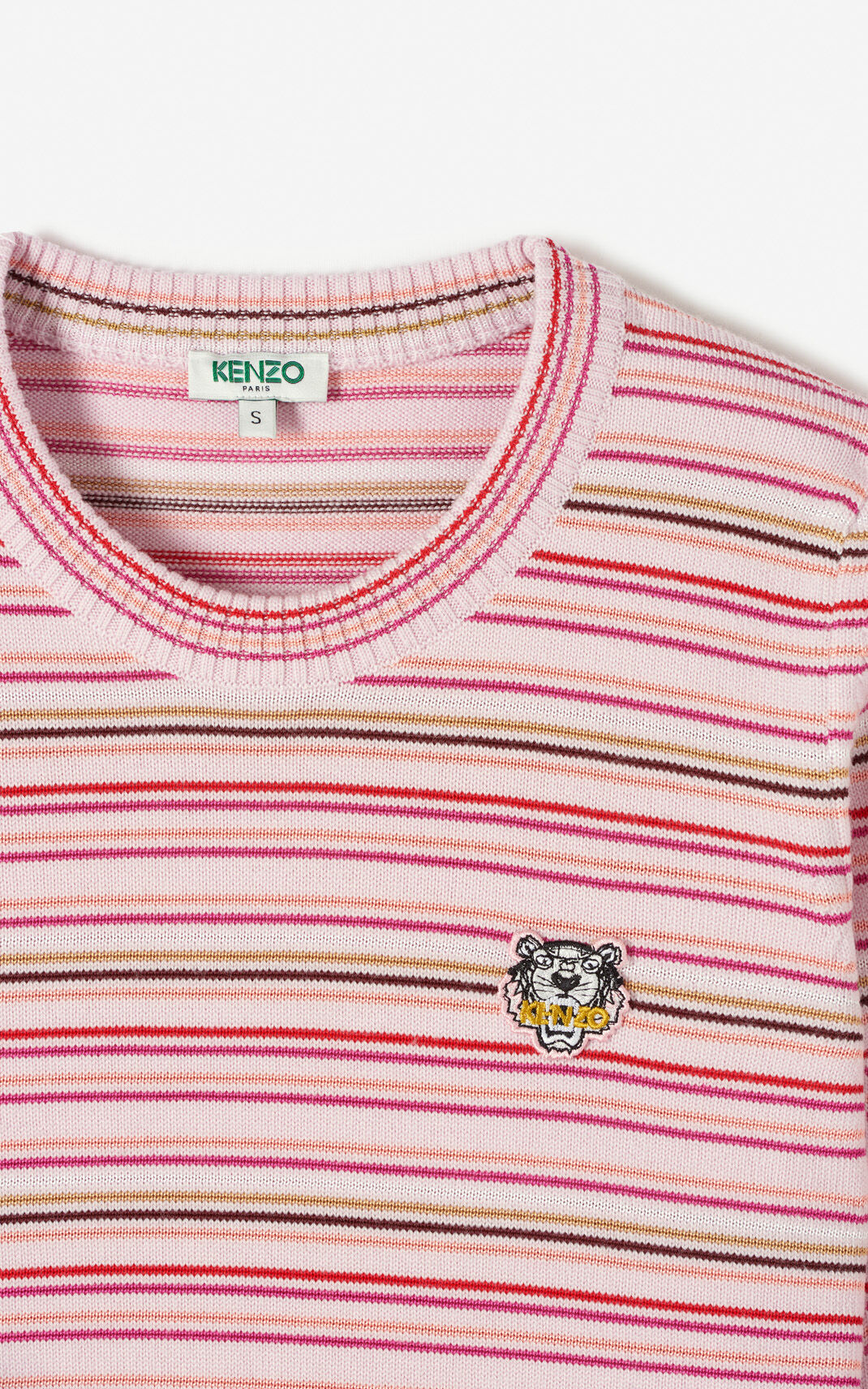 PASTEL PINK Striped Tiger jumper for women KENZO