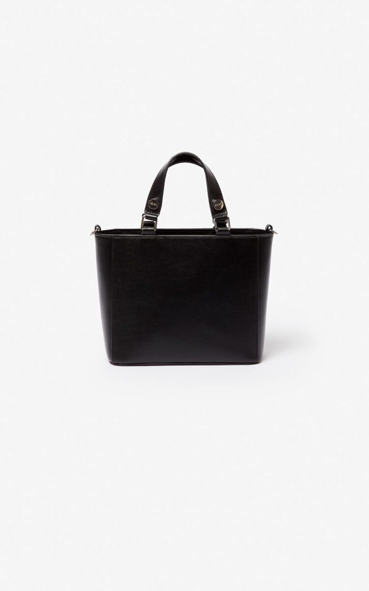 BLACK Small Eye leather tote bag for unisex KENZO