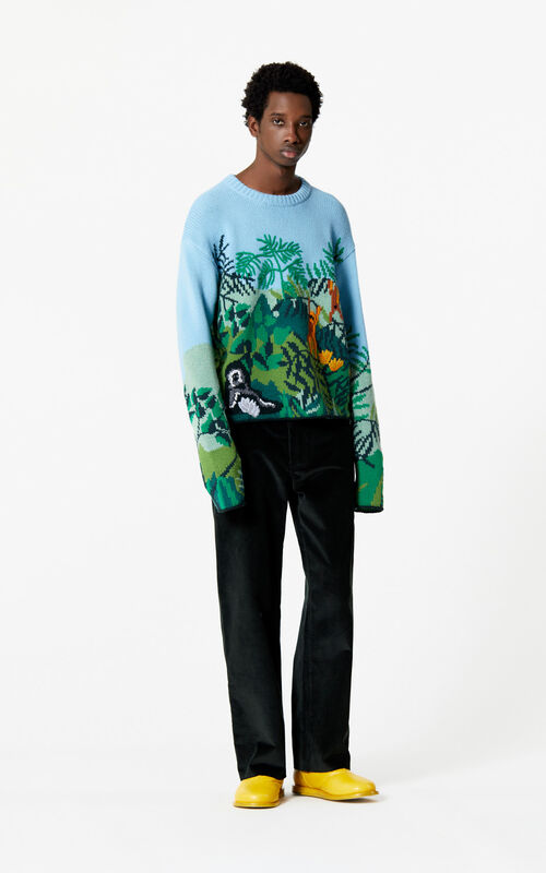 SKY BLUE Hand embroidered jumper for men KENZO
