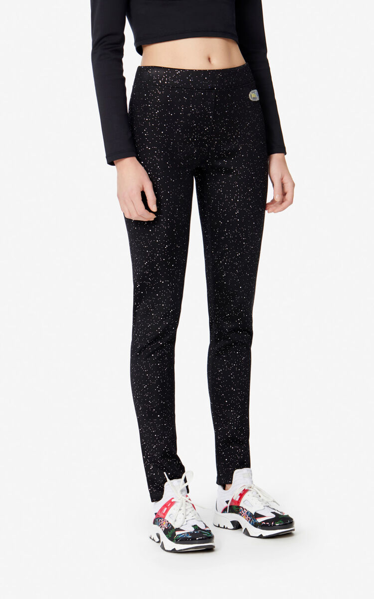 BLACK Shiny leggings for women KENZO