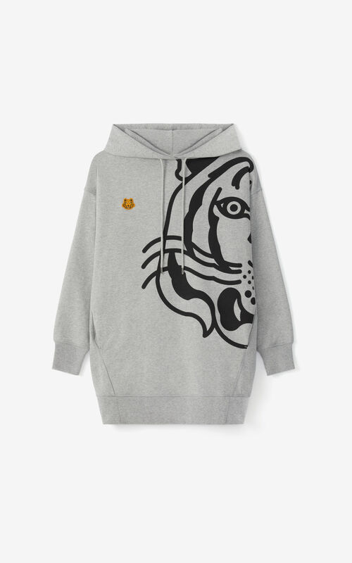 PEARL GREY K-Tiger oversized hooded sweatshirt dress for unisex KENZO