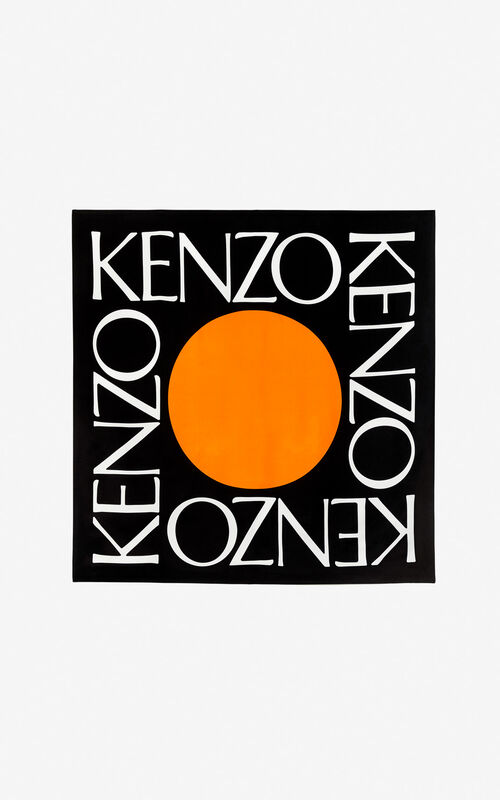 BLACK 'Square Logo' colorblock silk scarf for unisex KENZO