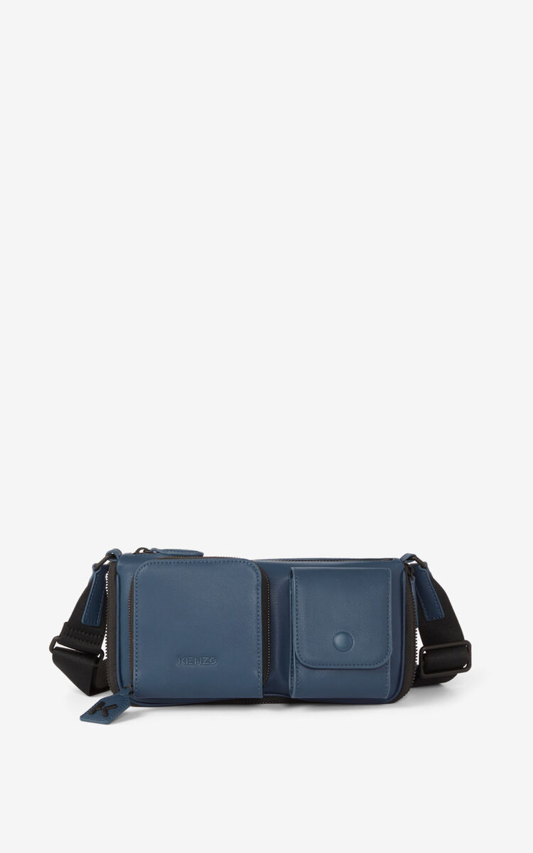 MIDNIGHT BLUE Small KENZO Kompact leather shoulder bag for unisex