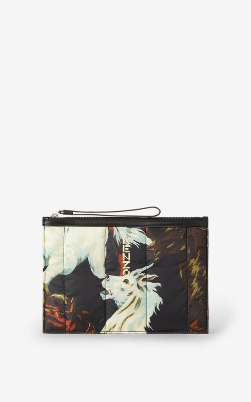BLACK KENZOMANIA 'Chevaux KENZO' large clutch for men