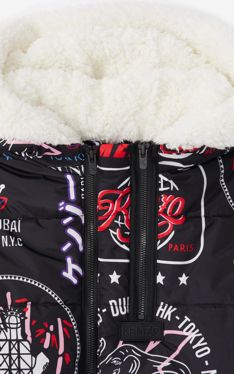 BLACK 'Tokyo' long quilted jacket for women KENZO