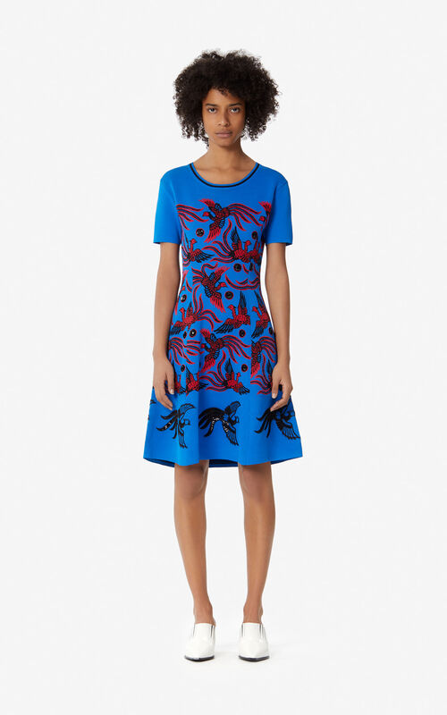 7c544fbac0 FRENCH BLUE  Jacquard  Flying Phoenix  dress for women KENZO ...