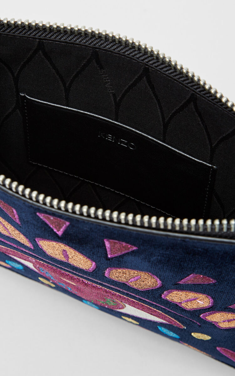 BLACK 'Holiday Capsule Collection' A4 Eye Clutch Bag in velvet for unisex KENZO