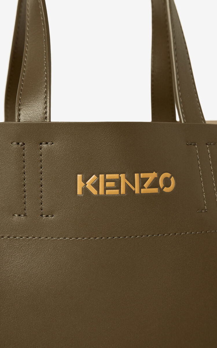 KHAKI KENZO Cadet small leather tote bag for women