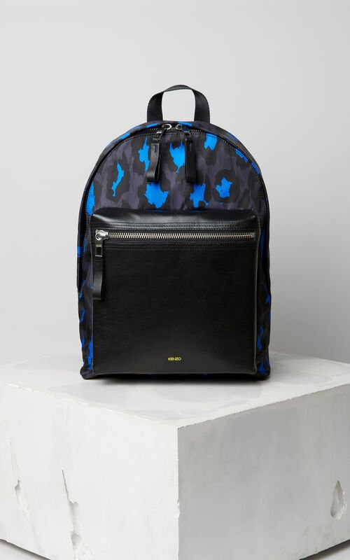 BLACK 'Leopard' print backpack for unisex KENZO