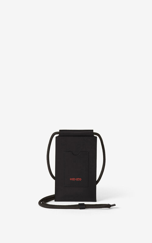 BLACK KENZO Cadet crossbody leather phone holder  for women