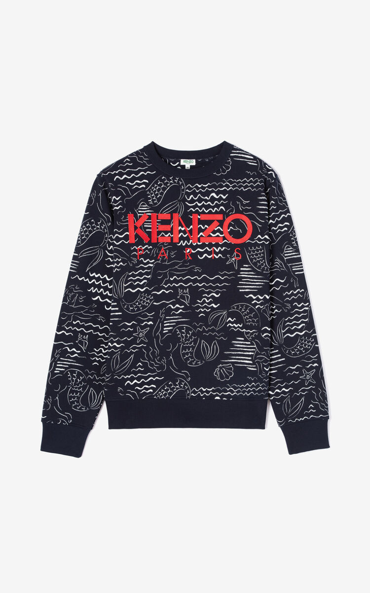 MIDNIGHT BLUE KENZO Paris 'Mermaids' sweatshirt for men