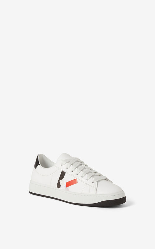 MEDIUM RED Leather KENZO Kourt K Logo sneakers for unisex