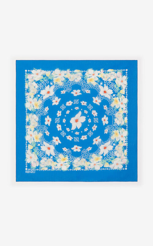 COBALT Floral bandana scarf for unisex KENZO