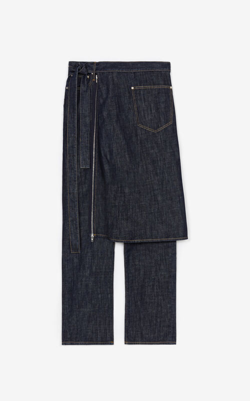 NAVY BLUE Zip off apron jeans for unisex KENZO