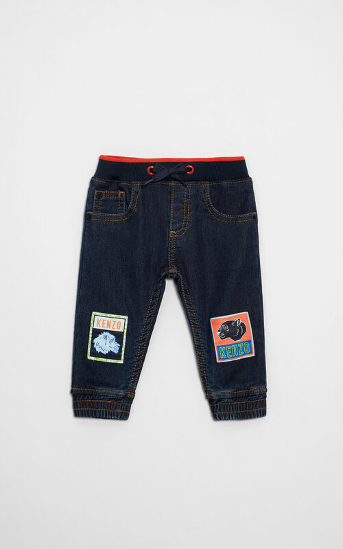Badges pants , MIDNIGHT BLUE, KENZO