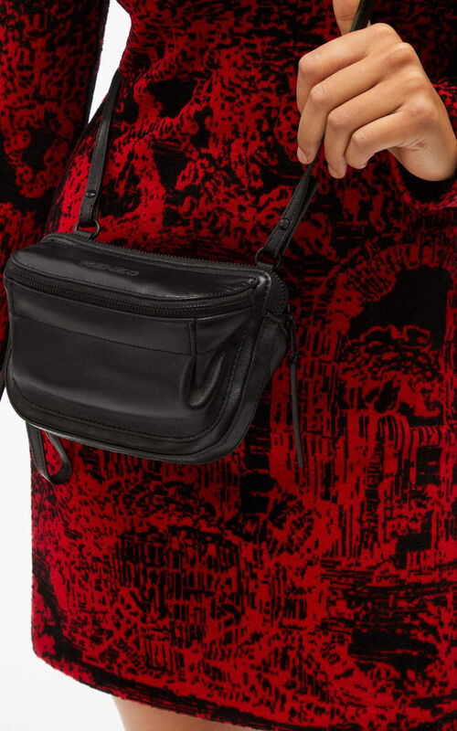 BLACK Leather bag with double pockets for men KENZO