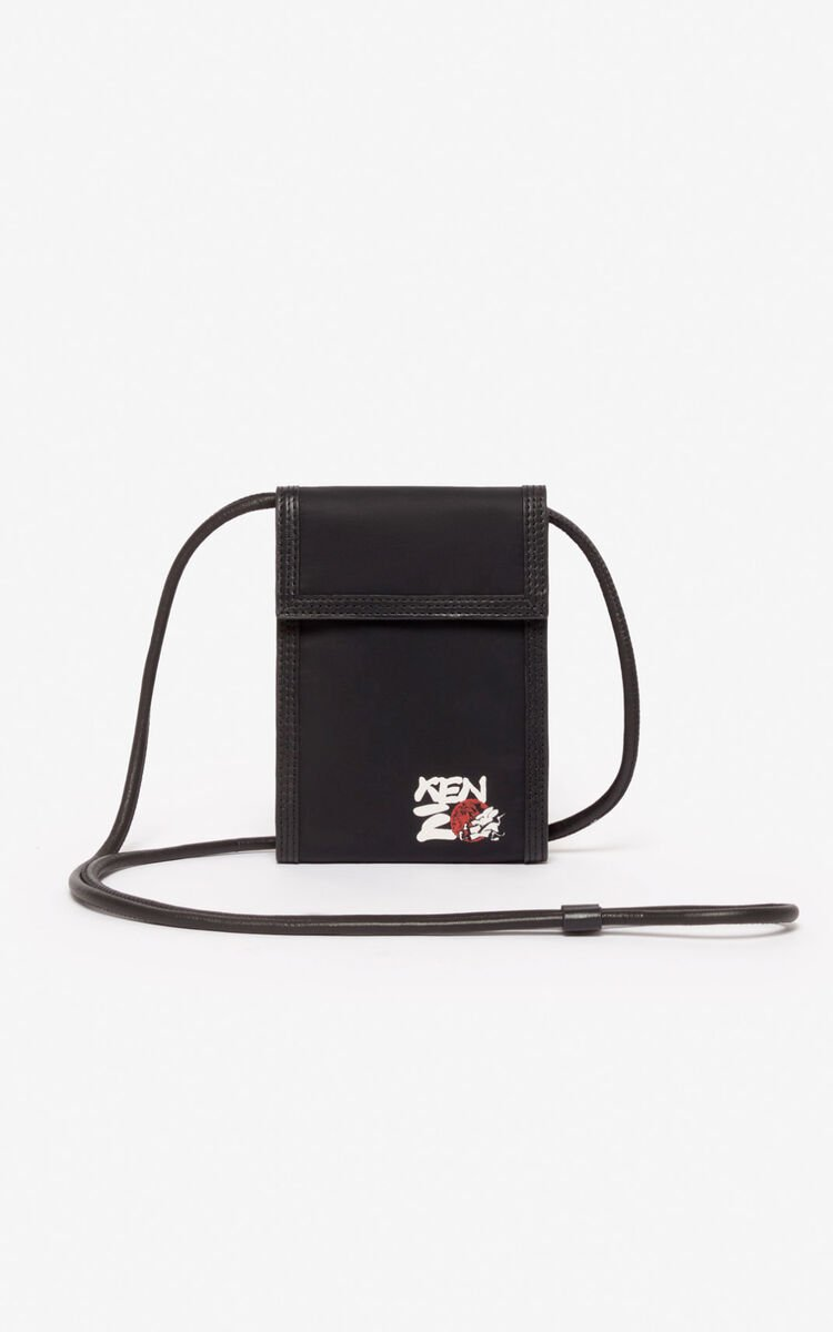 BLACK 'Kung Fu Rat' Phone Holder on strap  for unisex KENZO