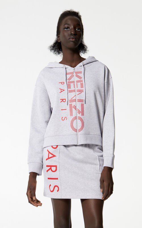 PALE GREY KENZO Logo zipped jacket for women