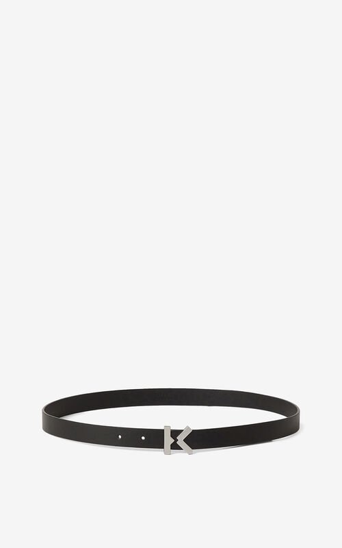BLACK KENZO K narrow leather belt
