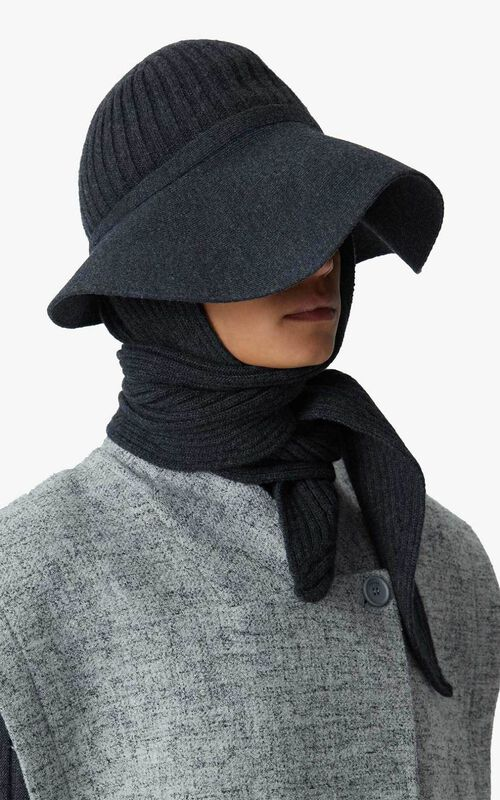 ANTHRACITE Wool and cashmere hat-scarf for unisex KENZO