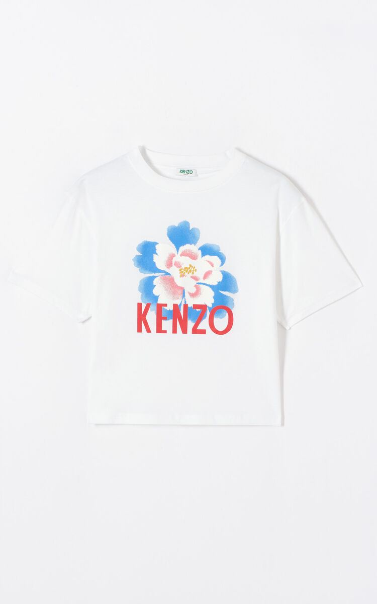 0dc66a8b WHITE Boxy 'Indonesian Flower' t-shirt for women KENZO
