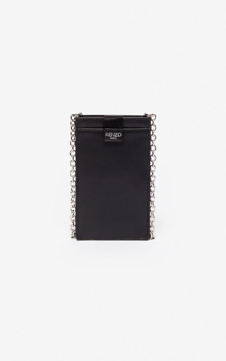 BLACK Phone Holder on Chain Eye  for women KENZO