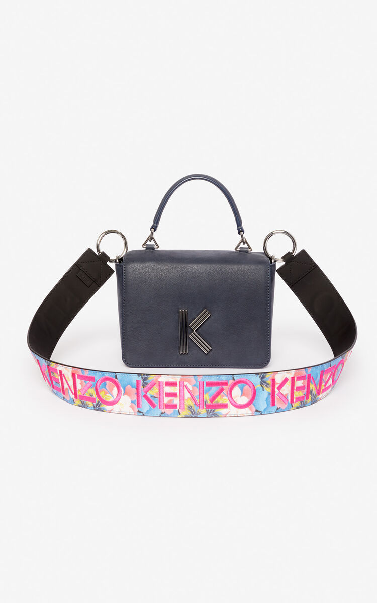 BLACK 'Indonesian Flower' leather shoulder strap for women KENZO