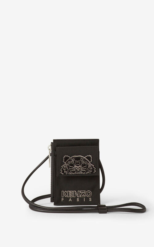 BLACK Kampus Tigre cardholder with strap for men KENZO
