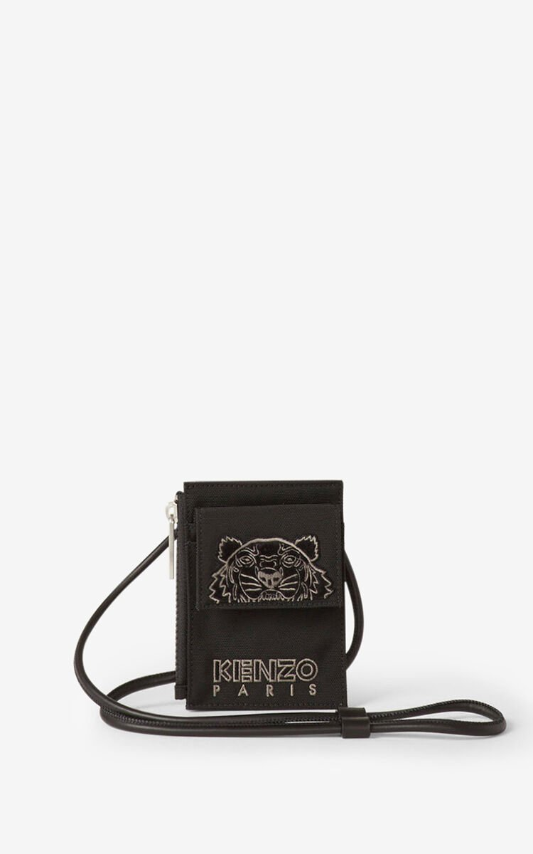 BLACK Kampus Tigre cardholder with strap for women KENZO