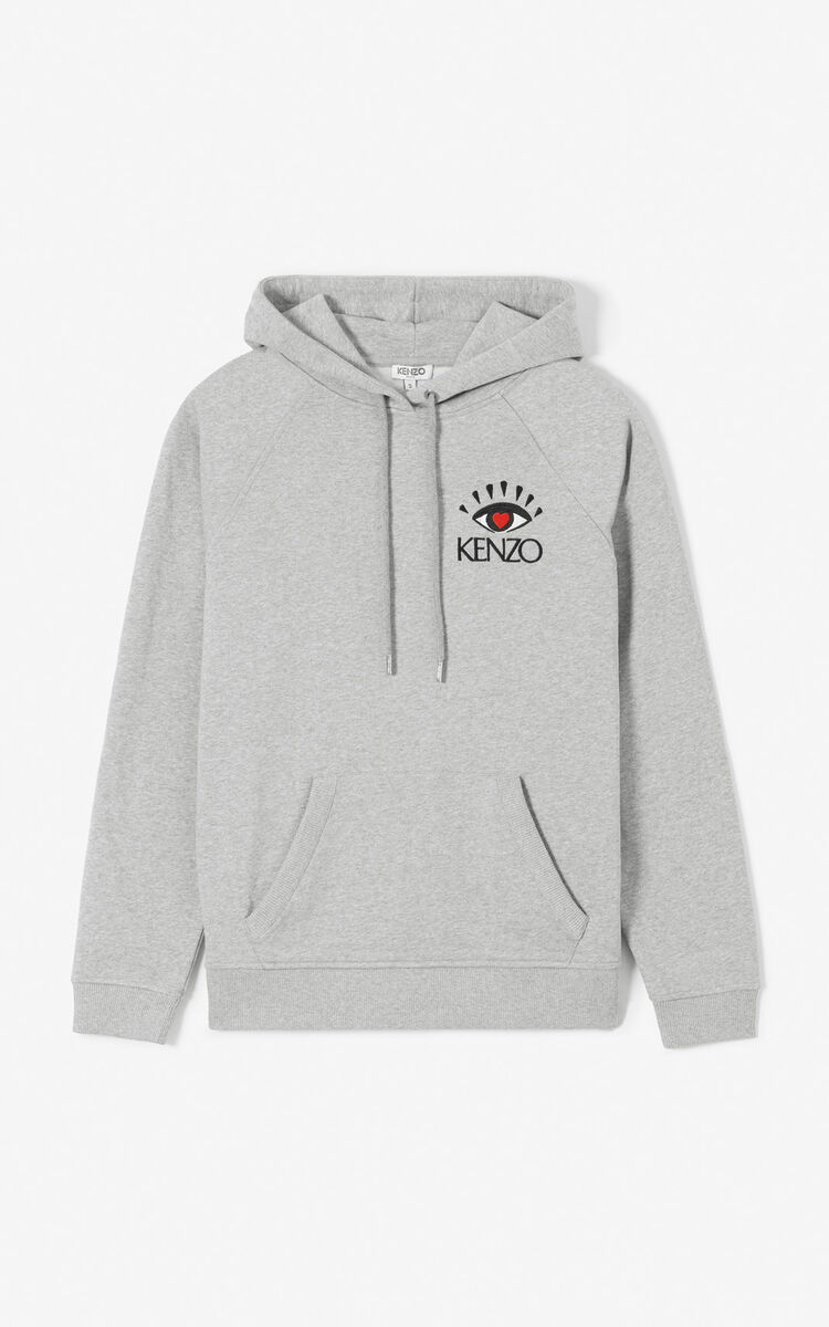 PEARL GREY 'I ❤ KENZO Capsule' hoodie for women