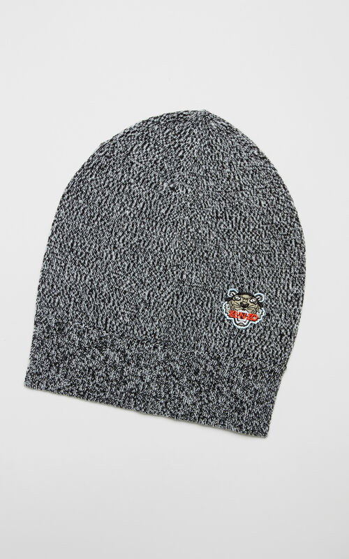 DARK GREY Tiger Crest Beanie for unisex KENZO