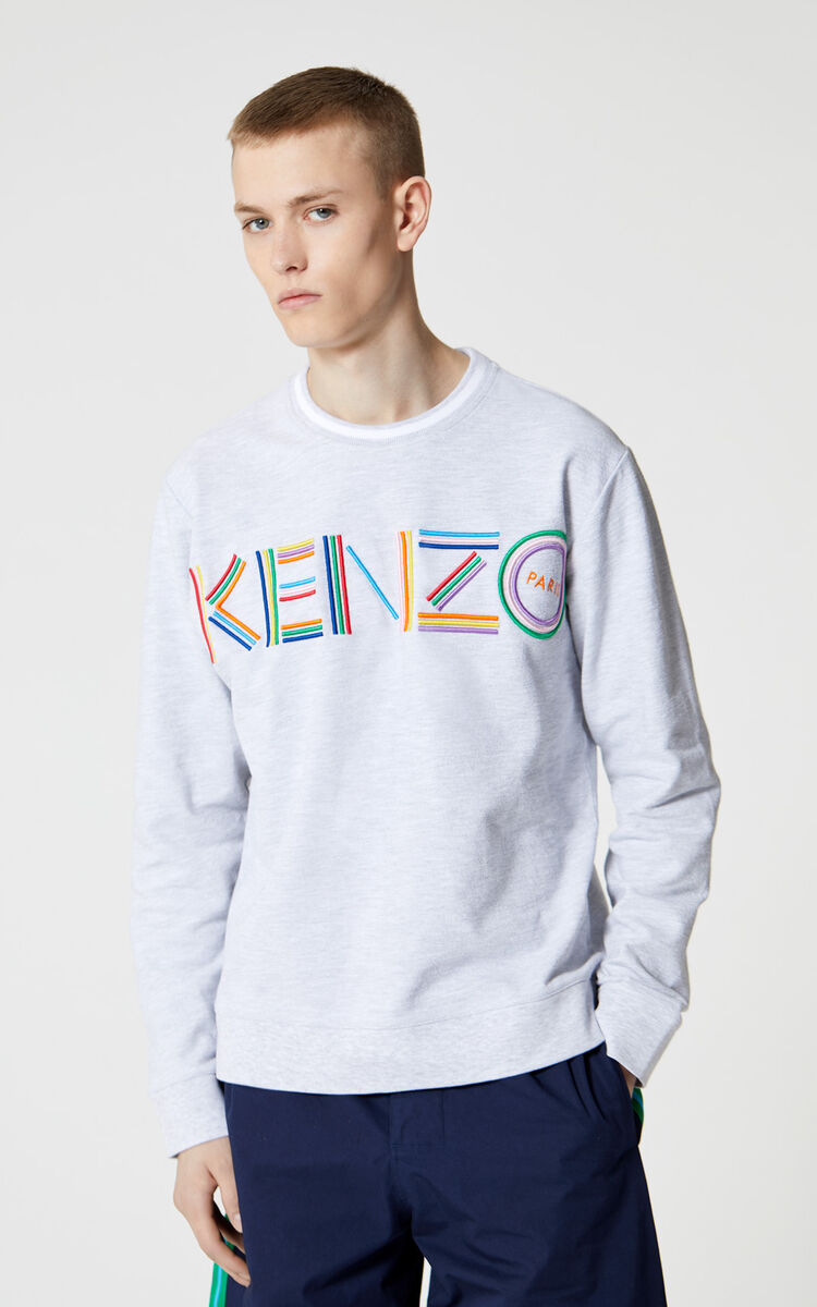 PALE GREY 'High Summer Capsule Collection' KENZO Logo sweatshirt for men