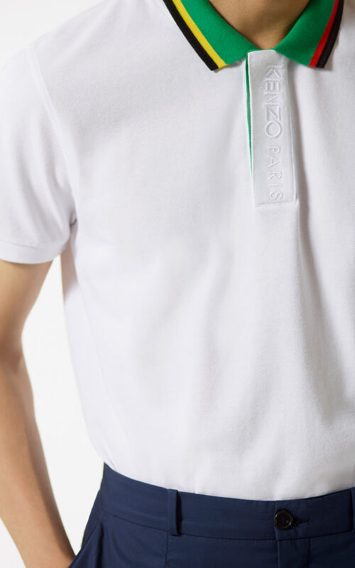 WHITE Bi-coloured polo shirt for men KENZO