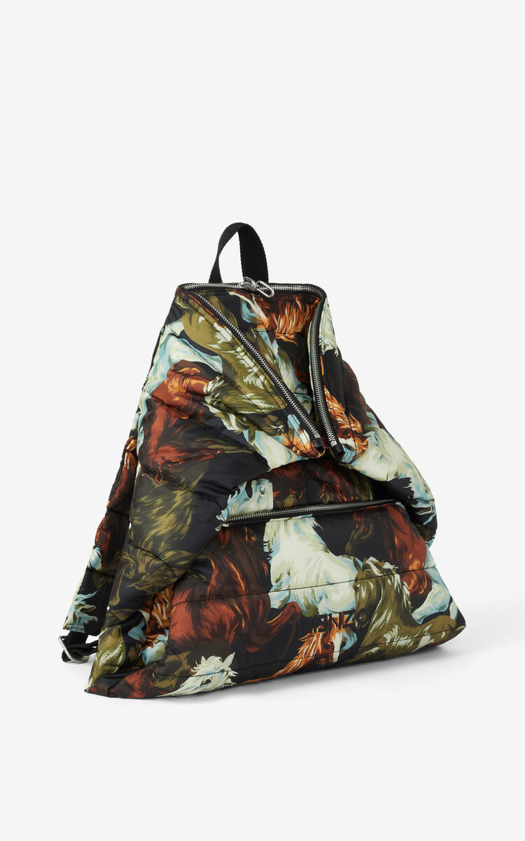 BLACK KENZOMANIA 'Chevaux KENZO' backpack for men