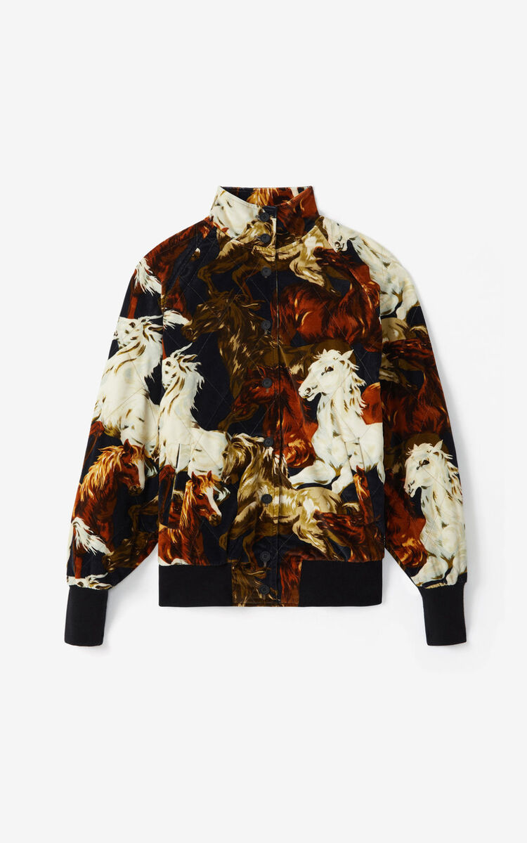 BLACK 'Chevaux KENZO' corduroy bomber jacket for women