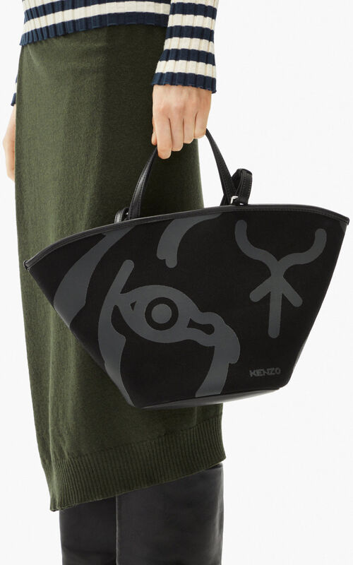 BLACK Small KENZO Arc canvas tote bag for women