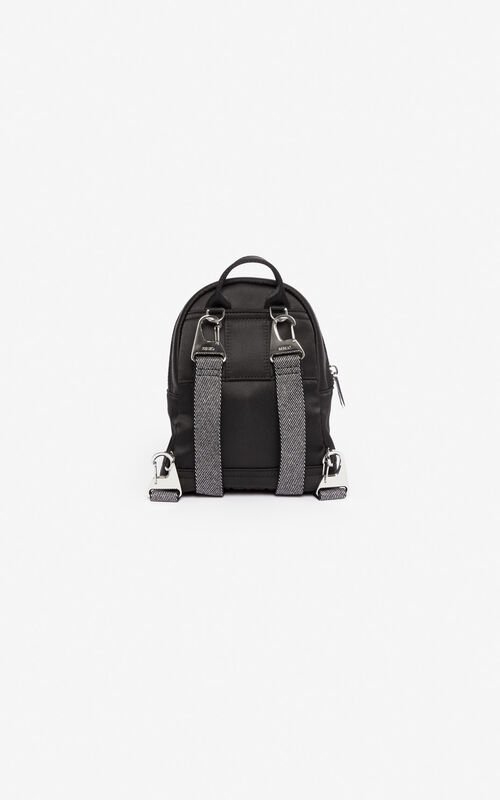 BLACK Mini satin Tiger backpack 'Holiday Capsule' for unisex KENZO