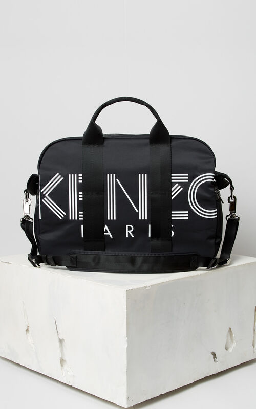 BLACK KENZO Logo week-end bag for unisex