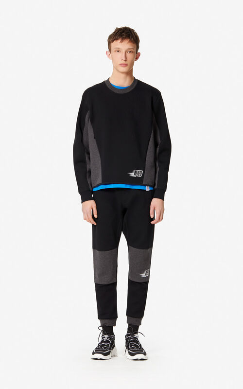 BLACK Two-tone sweatshirt for men KENZO